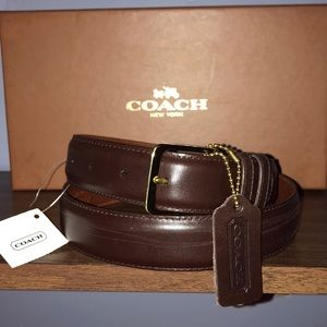 """Coach 1-1/4"""" Burnished Cowhide Brown Leather Belt"""